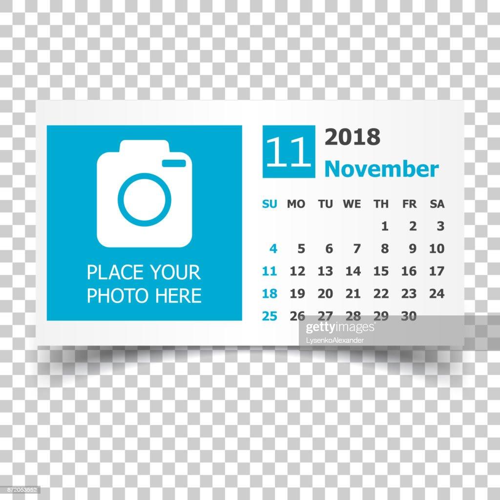 November 2018 calendar. Calendar planner design template with place for photo. Week starts on sunday. Business vector illustration.