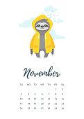 November 2019 year calendar page