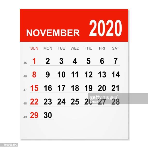november 2020 calendar - november stock illustrations
