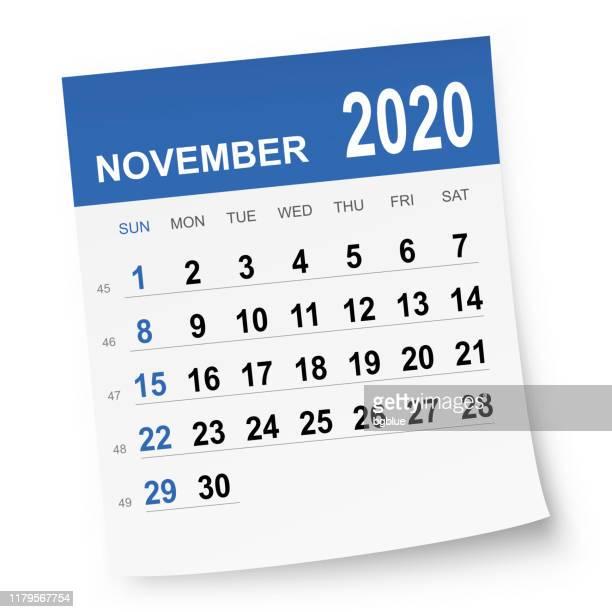 november 2020 calendar - 2019 2020 calendar stock illustrations