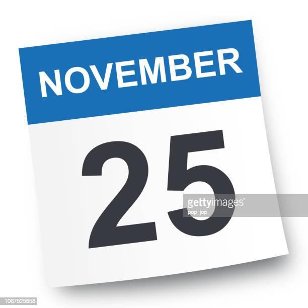 ilustrações de stock, clip art, desenhos animados e ícones de november 25 - calendar icon - novembro