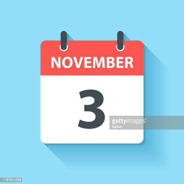 november 3 - daily calendar icon in flat design style - november stock illustrations