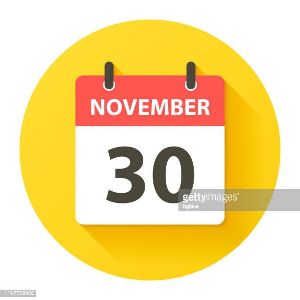 november 30 - round daily calendar icon in flat design style - routine stock illustrations