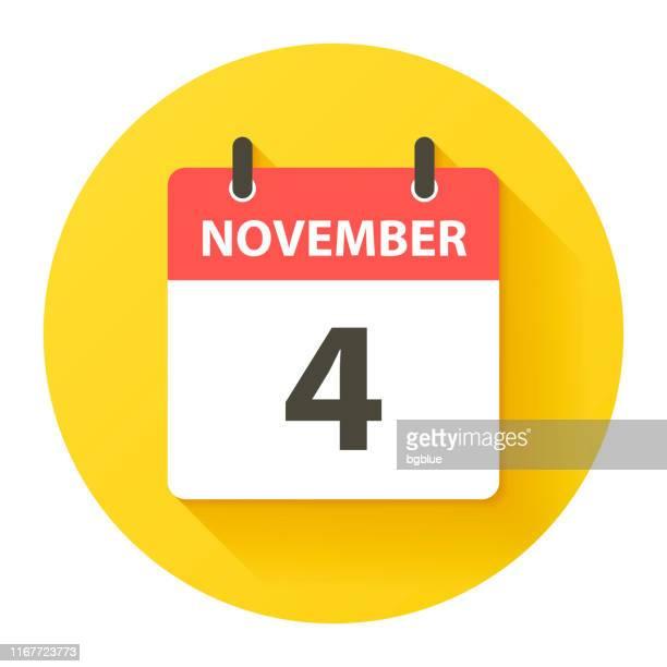 bildbanksillustrationer, clip art samt tecknat material och ikoner med 4 november-rund daglig kalenderikon i flat design stil - round four