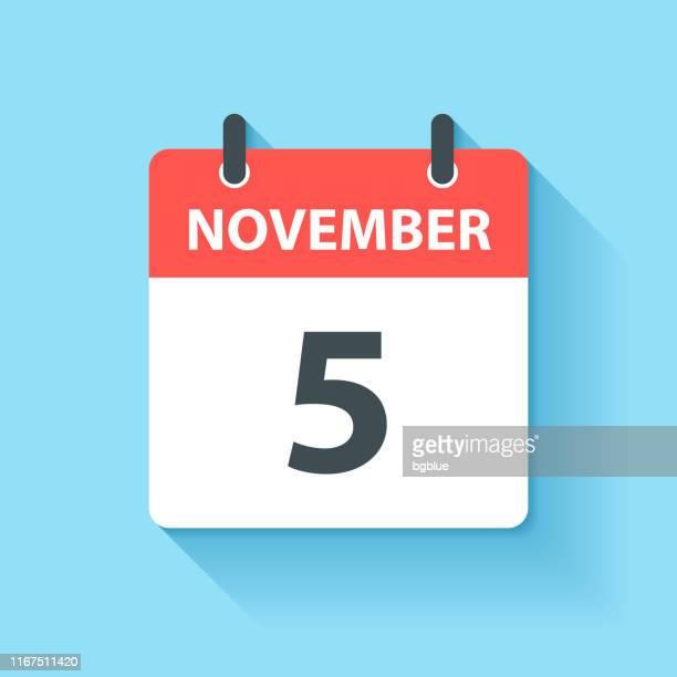 ilustrações de stock, clip art, desenhos animados e ícones de november 5 - daily calendar icon in flat design style - prazo