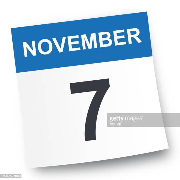 ilustrações de stock, clip art, desenhos animados e ícones de november 7 - calendar icon - novembro