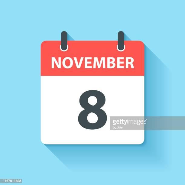 ilustraciones, imágenes clip art, dibujos animados e iconos de stock de 8 de noviembre - icono de calendario diario en estilo de diseño plano - 2019