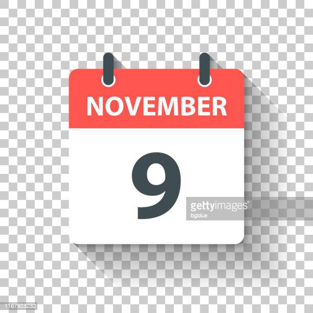 november 9 - daily calendar icon in flat design style - day stock illustrations