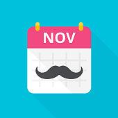 November calendar with vintage curly moustache