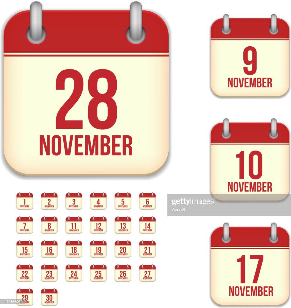 November days. Vector calendar icons