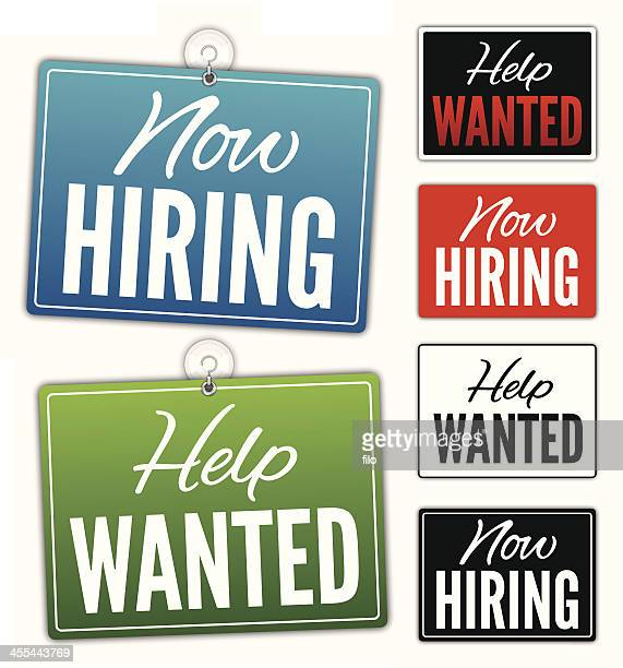 now hiring help wanted signs - open sign stock illustrations