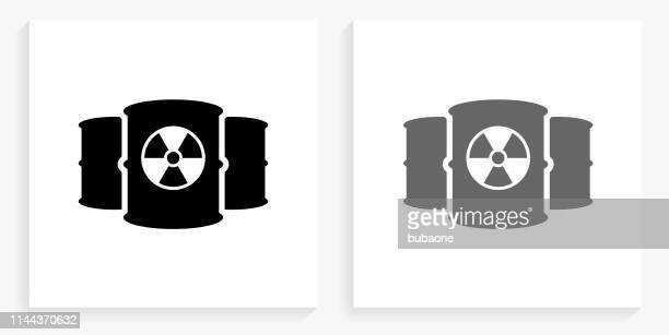Nuclear Barrels Black and White Square Icon