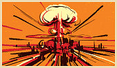Nuclear bomb explosion illustration vector