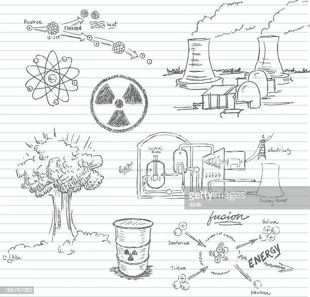 nuclear doodle - radioactive contamination stock illustrations