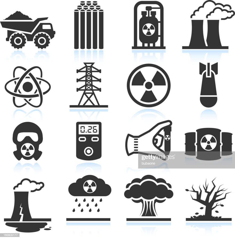 Nuclear Energy Industry and Disaster black & white icon set
