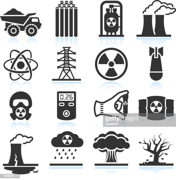 nuclear energy industry and disaster black & white icon set - radioactive contamination stock illustrations