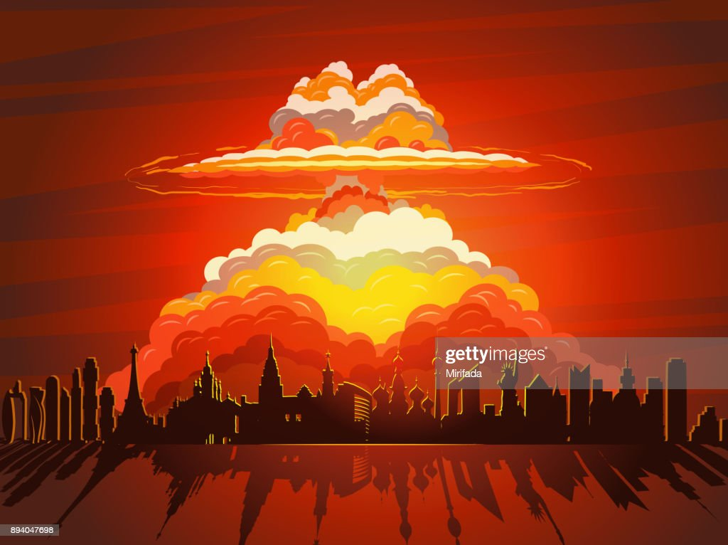 Nuclear explosion, atom bomb falling on Earth