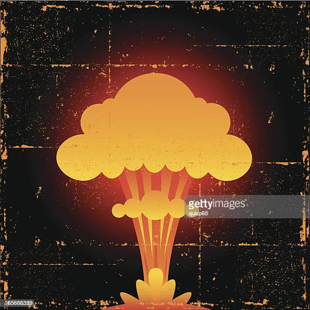 nuclear explosion - radioactive contamination stock illustrations