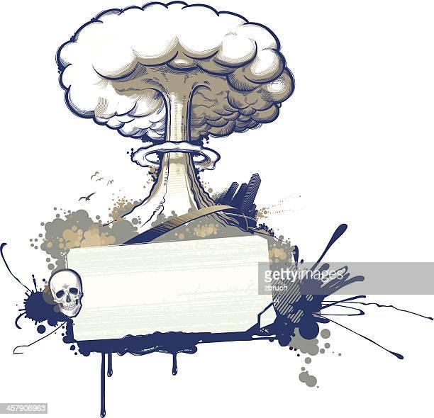 ilustraciones, imágenes clip art, dibujos animados e iconos de stock de explosión nuclear - bomba