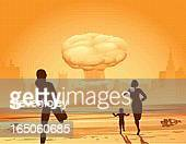 nuclear family - radioactive contamination stock illustrations