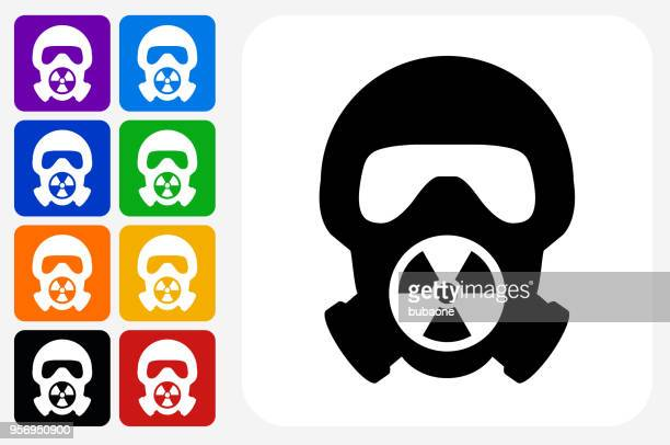 nuclear gas mask icon square button set - nuclear fallout stock illustrations