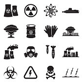 Nuclear Icons. Black Flat Design. Vector Illustration.