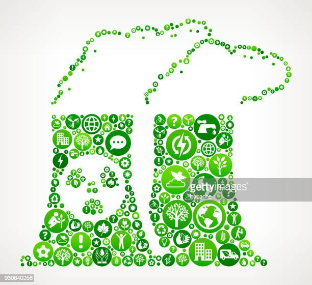 Nuclear Plant Nature and Environmental Conservation Icon Pattern