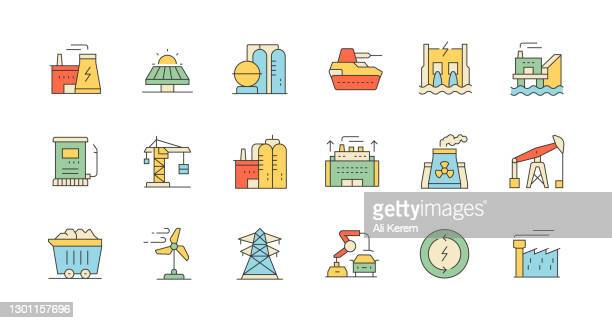 nuclear plant, transmission tower, power plant, factory production, construction industry icons - solar energy dish stock illustrations