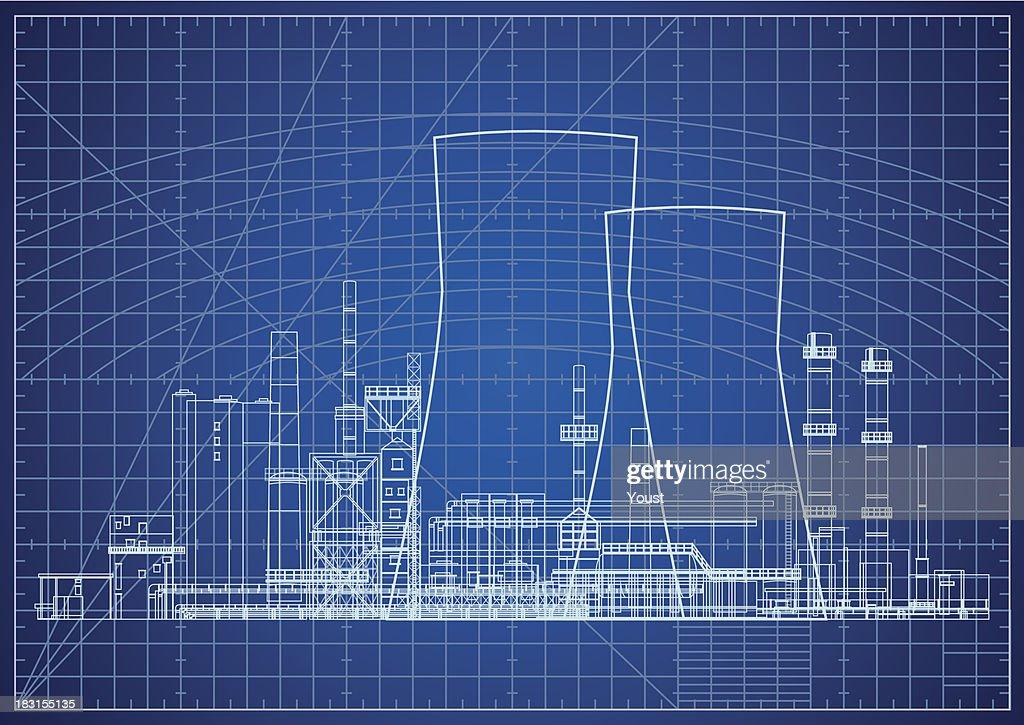 Nuclear Power Plant Blueprint Vector Illustration Stock