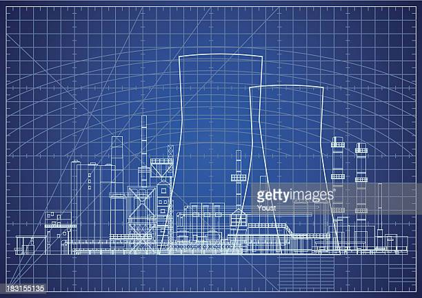 nuclear power plant blueprint vector illustration - nuclear power station stock illustrations