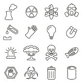 Nuclear Power Plant Icons Thin Line Vector Illustration Set