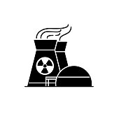 Nuclear power plant silhouette icon in flat style