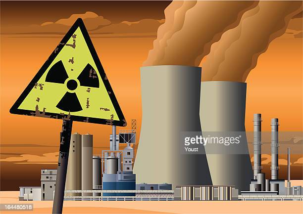 nuclear power station and radioactive sign - water pollution stock illustrations