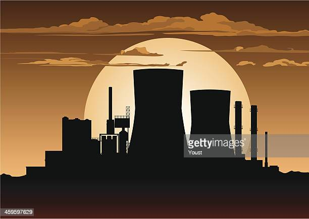 nuclear power station at night - cooling tower stock illustrations