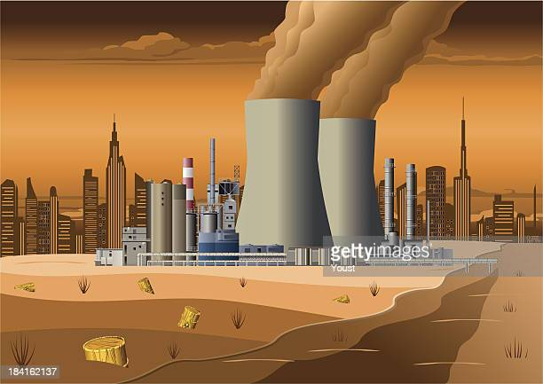 nuclear power station - water pollution stock illustrations