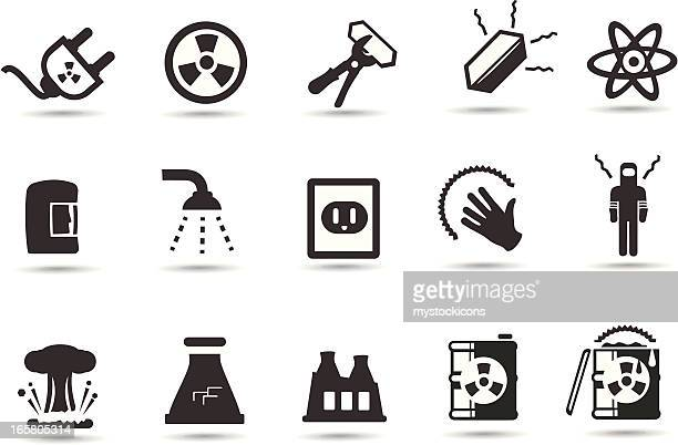 nuclear, radiation icons - uranium stock illustrations