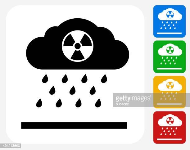 nuclear rain icon flat graphic design - acid stock illustrations
