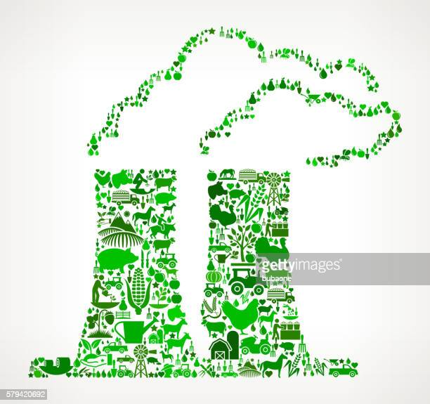 Nuclear Reactor Farming and Agriculture Green Icon Pattern