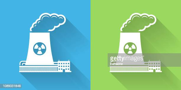nuclear reactor icon with long shadow - nuclear reactor stock illustrations