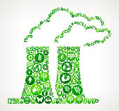 Nuclear Reactor Nature and Environmental Conservation Icon Pattern