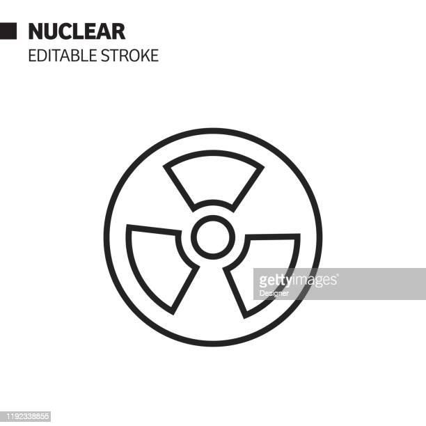 nuclear sign line icon, outline vector symbol illustration. pixel perfect, editable stroke. - radioactive contamination stock illustrations