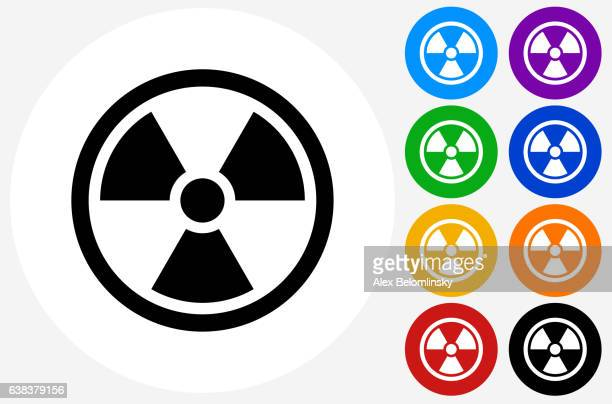 Nuclear Symbol Icon on Flat Color Circle Buttons