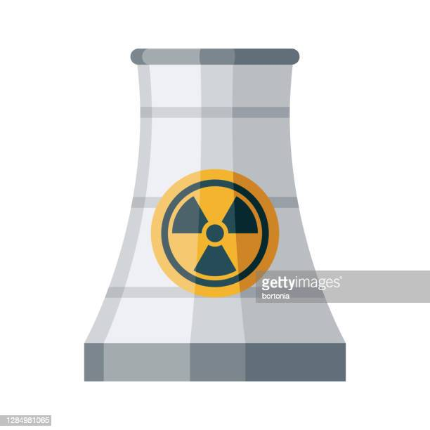 nuclear tower icon on transparent background - cooling tower stock illustrations