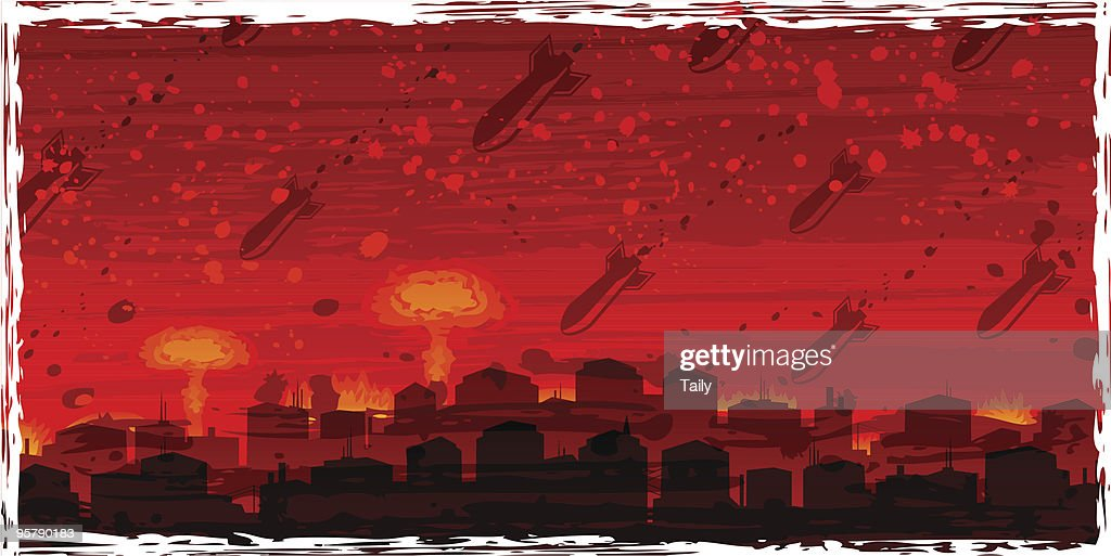 Nuclear war - atom bombs falling on the doomed city