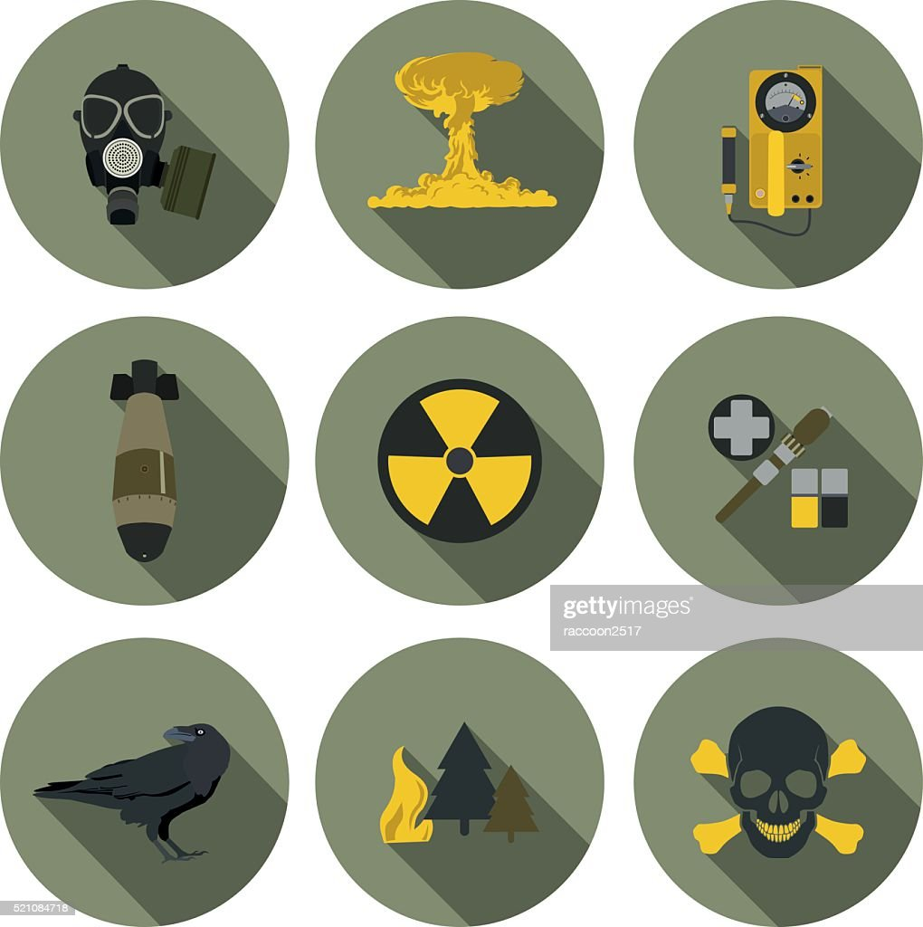 nuclear war flat icons