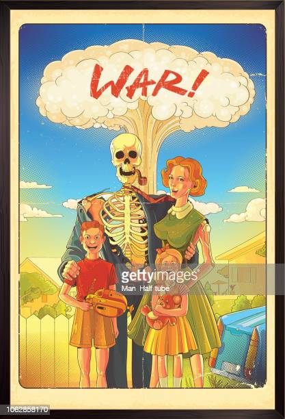 nuclear war poster - radioactive contamination stock illustrations