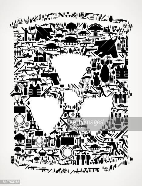 nuclear waste barrel  war and modern warfare vector icon pattern - nuclear fallout stock illustrations