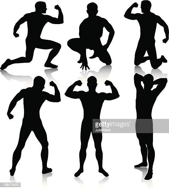 ilustraciones, imágenes clip art, dibujos animados e iconos de stock de macho siluetas de carne - flexionar los músculos