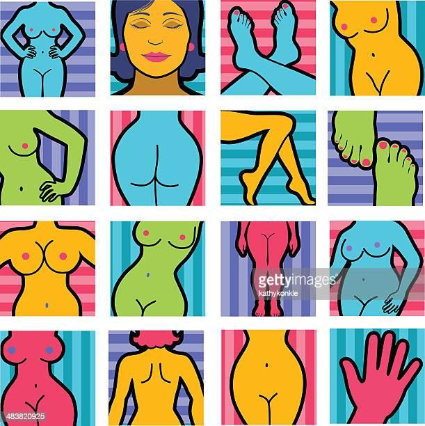 ilustraciones, imágenes clip art, dibujos animados e iconos de stock de mujer desnuda partes del cuerpo - mujer desnuda