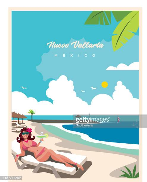 illustrations, cliparts, dessins animés et icônes de plage de nuevo vallarta nayarit près de puerto vallarta méxico - vacances à la mer